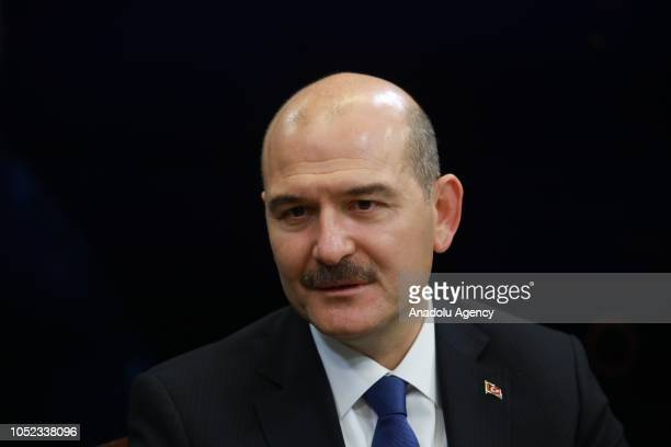 Turkish Interior Minister Suleyman Soylu speaks as he is special guest of Anadolu Agency's Editors Desk in Ankara Turkey on October 17 2018