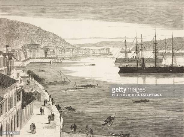 Turkish ironclads at Buyukdere the Messoudie frigate and the Loutfi Djelil monitor on the European shoreline of Bosphorus RussoTurkish war...
