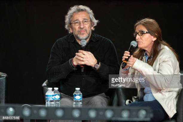 Turkish journalist columnist and documentarian Can Dündar takes part in a debate during the Festival of Humanity a political event and music festival...