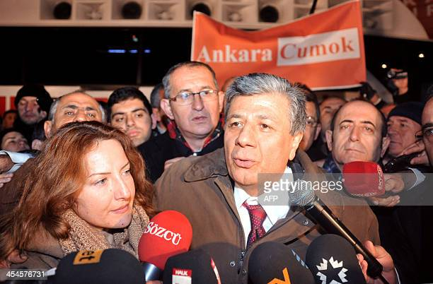 Turkish journalist Mustafa Balbay speaks to the press on December 9 2013 after being released from prison in Sincan near Ankara Balbay has been...