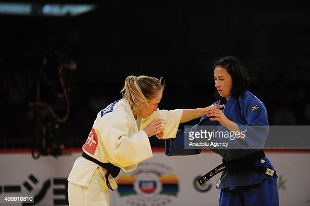 Turkish judoka Ebru Sahin in action against Russian judoka Natalia Kondratyeva in the women's 48kilogram category final at the Judo Grand Slam Tokyo...