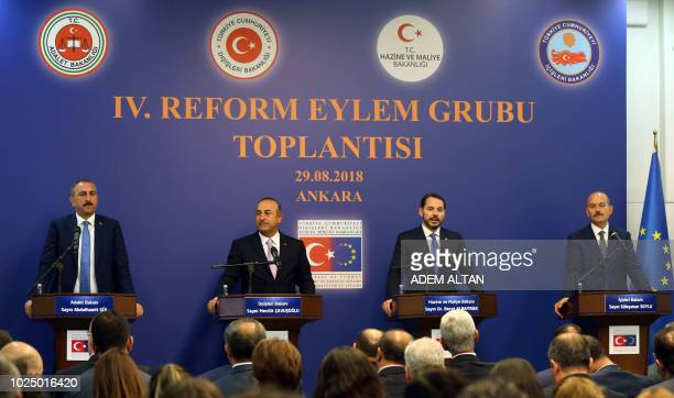 Turkish Justice Minister Abdulhamit Gul Turkish Foreign Minister Mevlut Cavusoglu Treasury and Finance Minister Berat Albayrak and Turkish Interior...