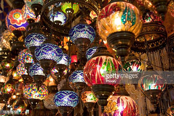 turkish lamps - bazaar stockfoto's en -beelden