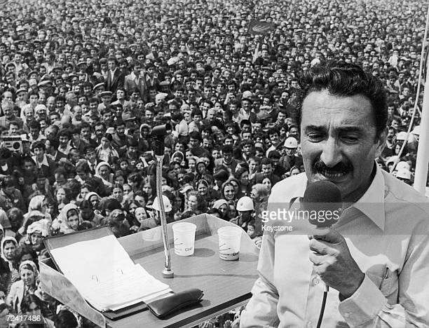 Turkish Leader of the Opposition Mustafa Bulent Ecevit at an election rally in 1977