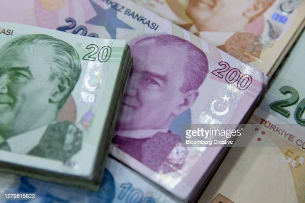 turkish lira banknotes - economy stock pictures, royalty-free photos & images