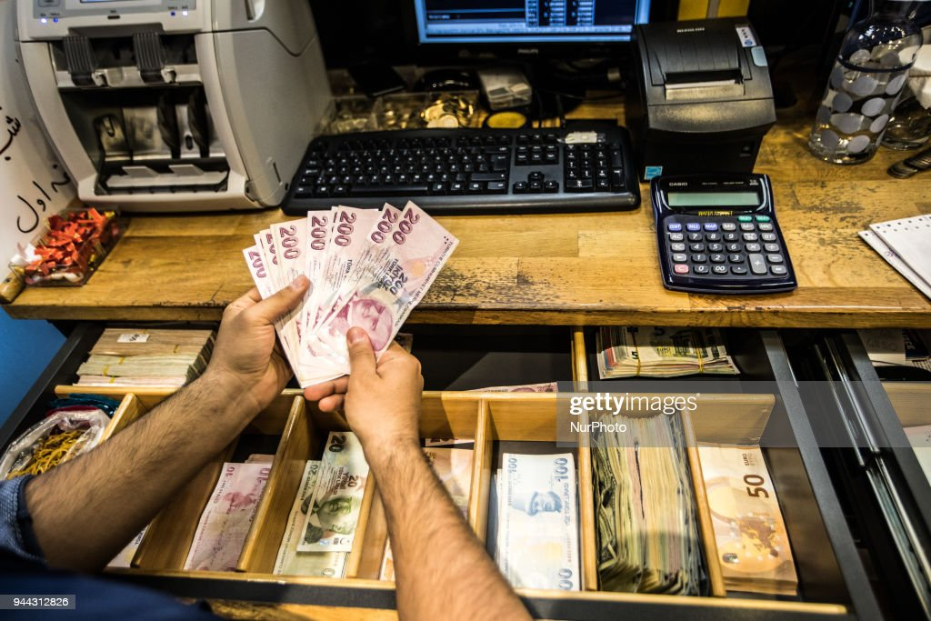 Turkish Lira currency is seen on 10 April, 2017 in Istanbul, Turkey. The Turkish Lira plunged to a record low of 4.1300 against the dollar in early Tuesday trading.