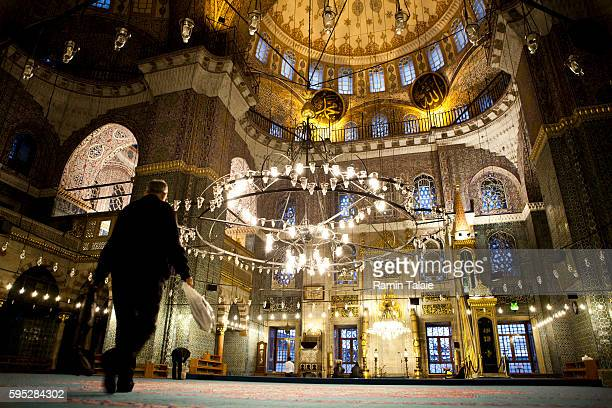 A Turkish man walks inside the Suleymaniye Mosque in Istanbul Turkey on January 4 2010 Istanbul is selected as one of the European Capital of Culture...