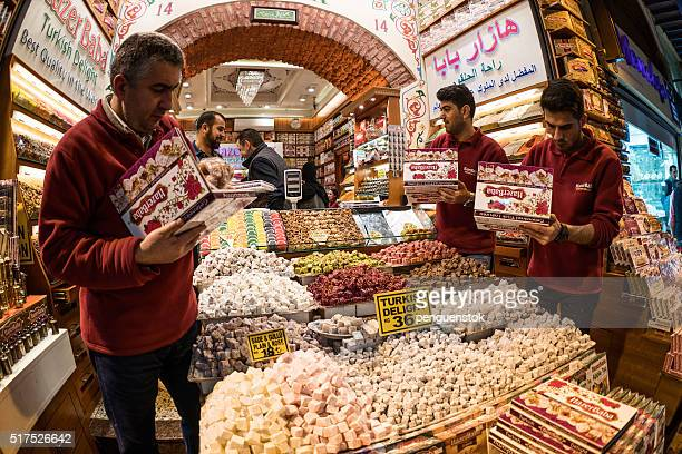Turkish men preparing turkish delight