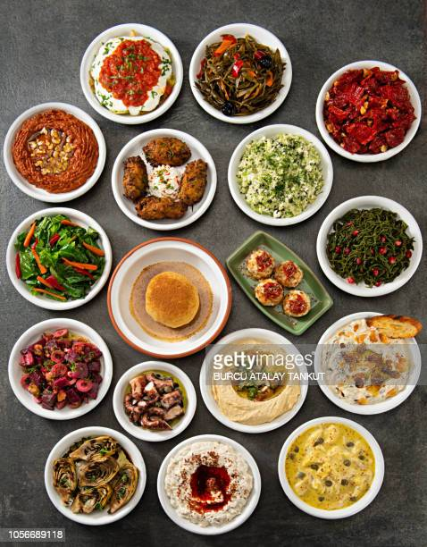 turkish meze variations - aperitif stock photos and pictures