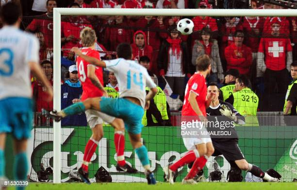 Turkish midfielder Arda Turan scores during the Euro 2008 Championships Group A football match Switzerland vs Turkey on June 11 2008 at JakobPark...