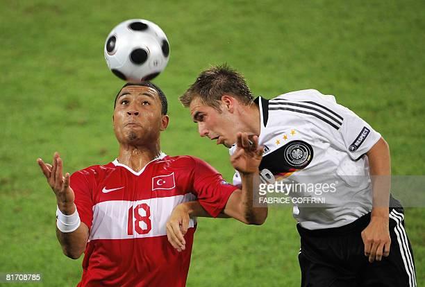 Turkish midfielder Kazim Kazim vies with German defender Philipp Lahm during the Euro 2008 championships semifinal football match Germany vs Turkey...
