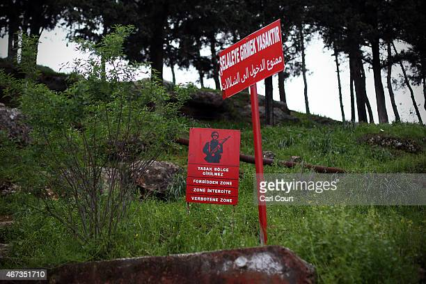 Turkish military 'forbidden zone' sign is pictured near the Turkish border wth Syria on March 23 2015 in Reyhanli Turkey Although it has recently...