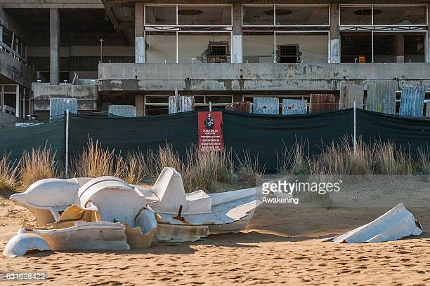 Turkish military sign is seen in front of abandoned hotels in the Varosha quarter on January 5, 2017 in Famagusta, Cyprus. Prior to the Turkish...