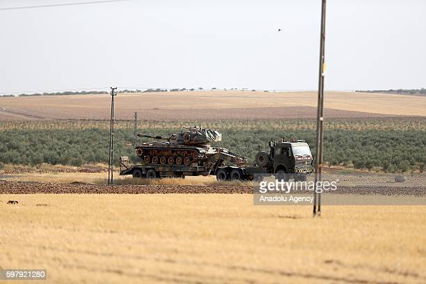 Turkish military tanks and armored vehicles is seen near TurkishSyrian border in Gaziantep Turkey during the Operation Euphrates Shield led by...