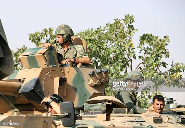 Turkish military tanks are seen in Jarabulus Syria during the Operation Euphrates Shield on August 24 2016 The antiDaesh operation called Euphrates...
