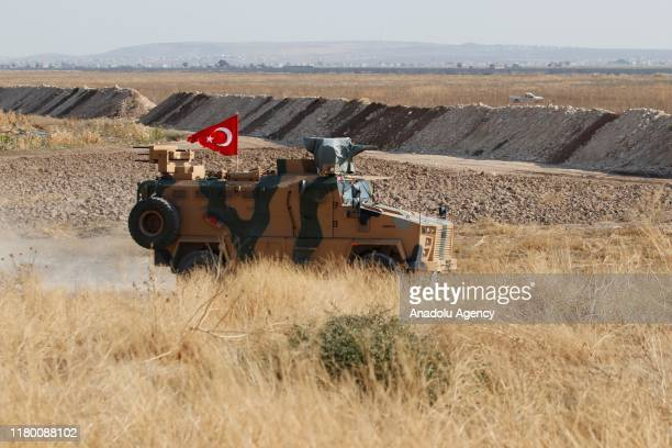 Turkish military vehicles patrol at Turkish border as Turkish and Russian troops complete the second joint ground patrols in the east of Euphrates on...