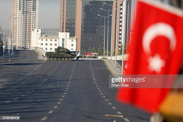 Turkish military's tanks is seen on the road to the Presidential Palace in Ankara July 16 Turkey Istanbul's bridges across the Bosphorus the strait...