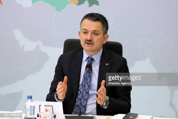 Turkish Minister of Agriculture and Forestry Bekir Pakdemirli attends on-line Turkish World Meteorology Forum in Ankara, Turkey on February 19, 2021.