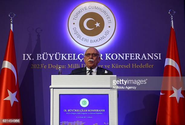 Turkish Minister of Culture and Tourism Nabi Avci delivers a speech during the 9th Ambassadors Conference in Ankara Turkey on January 11 2017