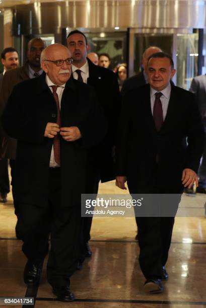 Turkish Minister of Culture and Tourism Nabi Avci is welcomed by Turkish Ambassador to Tel Aviv Kemal Okem upon his arrival in Tel Aviv Israel on...