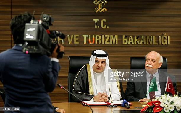 Turkish Minister of Culture and Tourism Nabi Avci meets Minister of Information and Culture of Saudi Arabia Adel Al Toraifi in Ankara Turkey on...