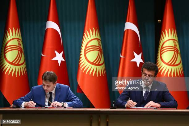 Turkish Minister of Economy Nihat Zeybekci and his Kyrgyz counterpart Artem Novikov sign cooperation agreements between two countries ahead of the...