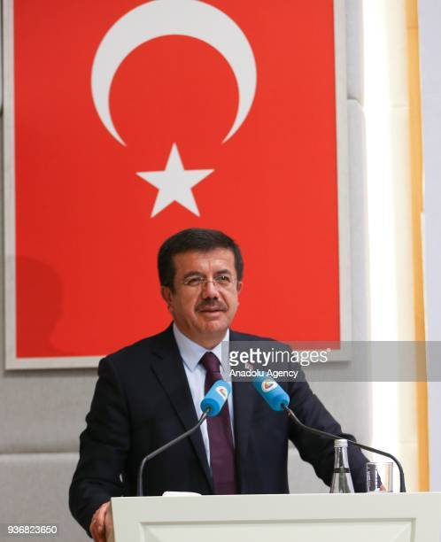 Turkish Minister of Economy Nihat Zeybekci makes a speech as he attends the TurkeyMoldova Economic Forum with Union of Chambers and Commodity...