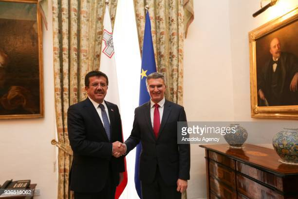 Turkish Minister of Economy Nihat Zeybekci meets Minister for Foreign Affairs and Trade Promotion of Malta Carmelo Abela in Malta on March 22 2018