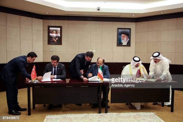 Turkish Minister of Economy Nihat Zeybekci Qatars Minister of Economy and Commerce Sheikh Ahmed bin Jassim bin Mohammed Al Thani and Iranian Minister...