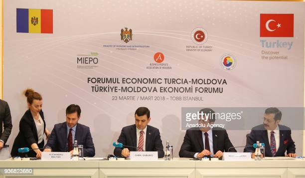 Turkish Minister of Economy Nihat Zeybekci Union of Chambers and Commodity Exchanges of Turkey President M Rifat Hisarciklioglu and Moldovan Minister...