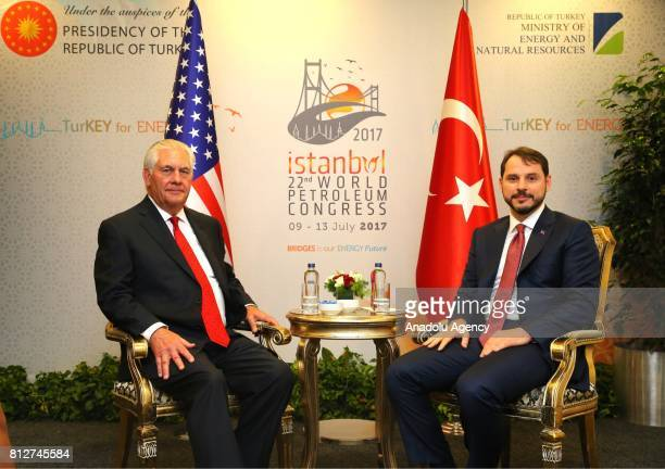 Turkish Minister of Energy and Natural Resources Berat Albayrak meets with US Secretary of State Rex Tillerson within the 22nd World Petroleum...