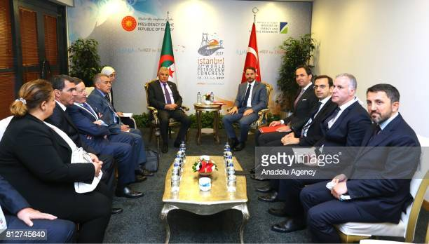 Turkish Minister of Energy and Natural Resources Berat Albayrak meets with Algeria's Energy Minister Mustapha Guitouni within the 22nd World...