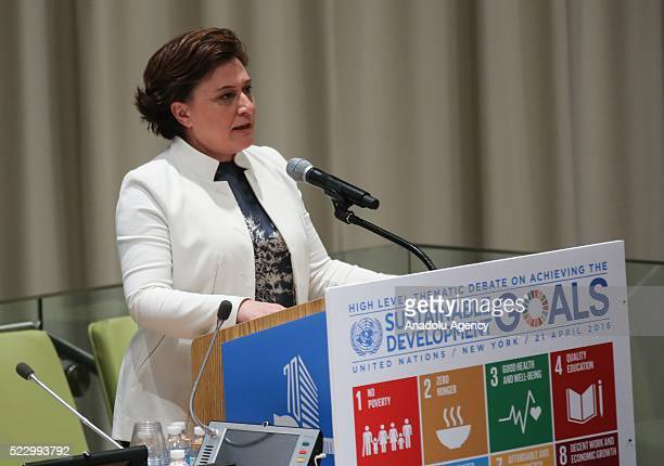 Turkish Minister of Environment and Urbanization Fatma Guldemet Sari delivers a speech during a meeting of Sustainable Development goals meeting at...