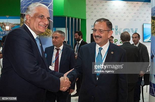 Turkish Minister of Environment and Urbanization Mehmet Ozhaseki meets with his Pakistani counterpart Zahid Hamid at Turkish Delegation Office during...