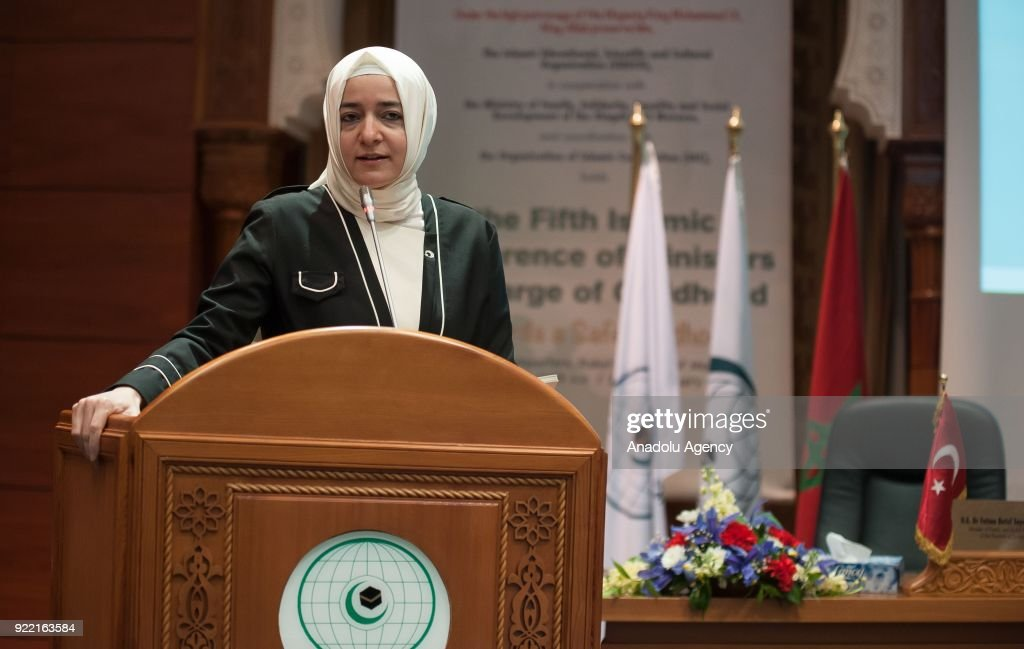 Turkish Minister of Family and Social Policies Fatma Betul Sayan Kaya makes a speech during 5th Islamic Conference of Ministers in charge of Childhood at Islamic Educational, Scientific and Cultural Organization headquarters in Rabat, Morocco on February 21, 2018.