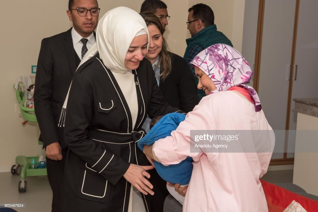Turkish Minister of Family and Social Policies Fatma Betul Sayan Kaya visits a center for abandoned children in Rabat, Morocco on February 21, 2018.