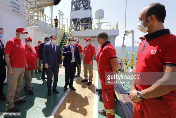 Turkish Minister of Finance and Treasury, Berat Albayrak and Turkey's Energy and Natural Resources Minister Fatih Donmez inspect on the Fatih Drill...