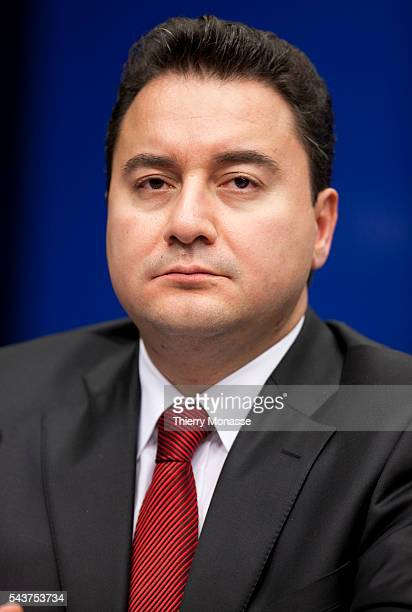 Turkish Minister of Foreign Affairs Ali Babacan is talking to media at the end of an extraordianry General affairs on the Gaza theme meeting