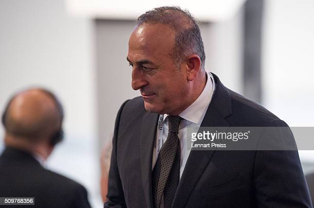 Turkish Minister of Foreign Affairs Mevlut Cavusoglu arrives for the 2016 Munich Security Conference at the Bayerischer Hof hotel on February 12 2016...