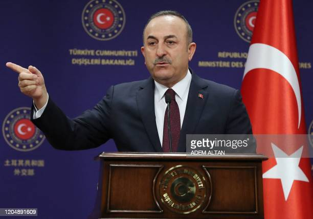 Turkish Minister of Foreign Affairs Mevlut Cavusoglu, gestures as he speaks during a press conference in Ankara, Turkey, on March 3, 2020.