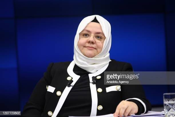 Turkish Minister of Labour Social Services and Family Zehra Zumrut Selcuk attends Anadolu Agency Editor's Desk in Ankara Turkey on March 20 2020