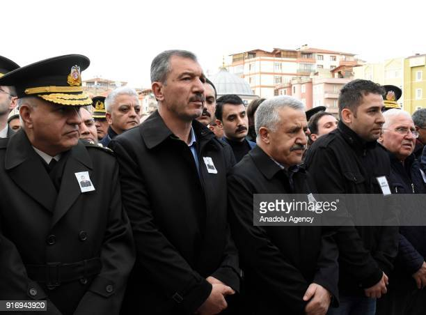 Turkish Minister of Transport Maritime and Communication Ahmet Arslan attends the funeral ceremony of First Lieutenant Erdem Mut who was martyred in...