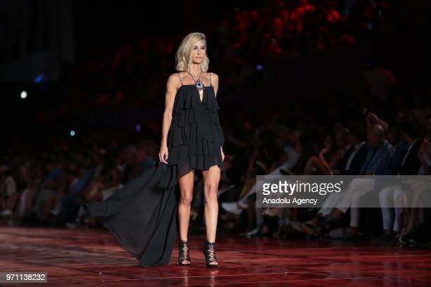 Turkish model Cagla Sikel presents a creation during the Dosso Dossi Fashion Show at The Land of Legends Theme Park in Serik district of Antalya,...