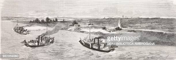 Turkish monitors bombarding Oltenita from the Danube Romania RussoTurkish War engraving from L'Illustrazione Italiana No 23 June 10 1877