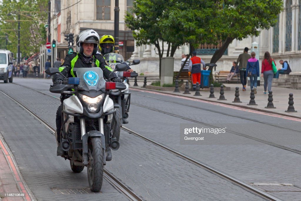 Turkish motorcycle police officers : Stock Photo