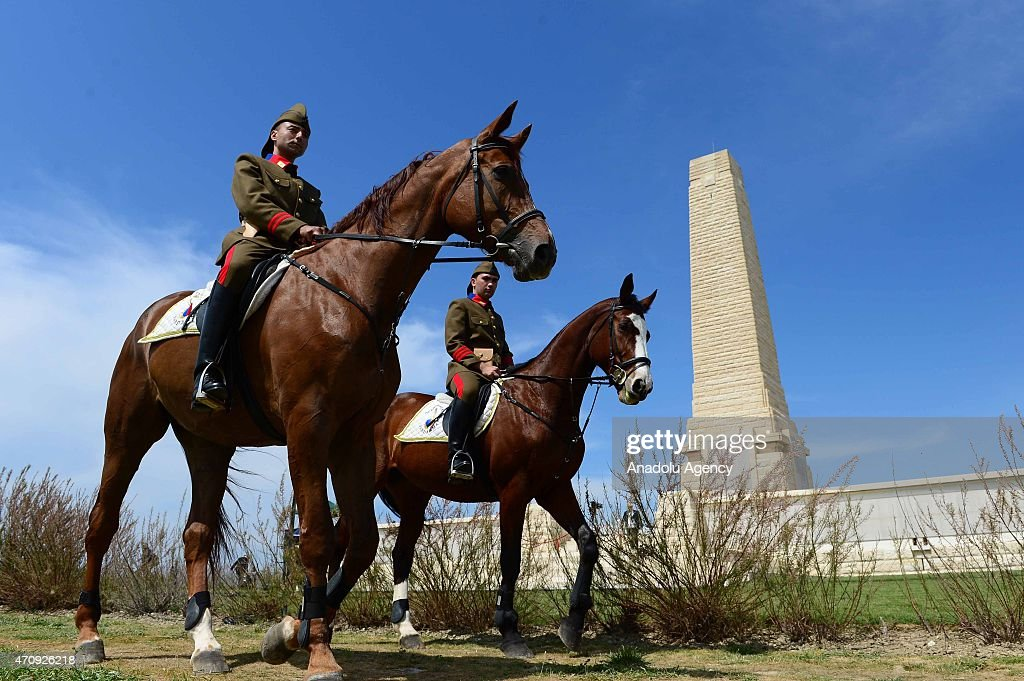 Turkish mounted gendarmes dressed as World War I Ottoman troops, are seen at the Cape Helles memorial prior to a commemoration ceremony marking the 100th Anniversary of the Canakkale Land Battles in Gallipoli Peninsula on April 24, 2015 in Canakkale, Turkey.