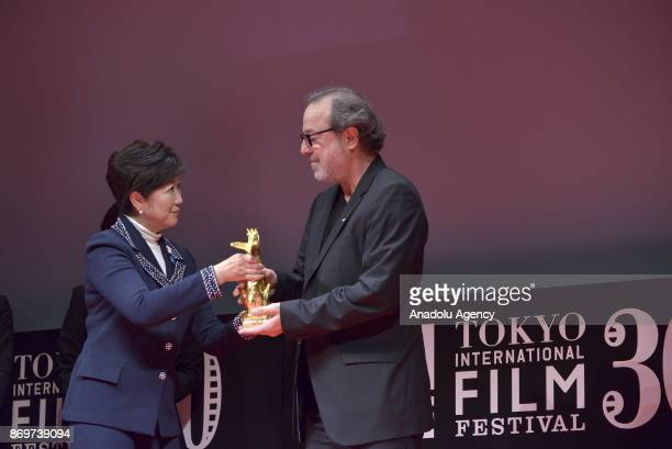 Turkish movie Director Semih Kaplanoglu receives the Tokyo Grand Prix and The Governor of Tokyo Award from the Tokyo Governor Yuriko Koike for the...