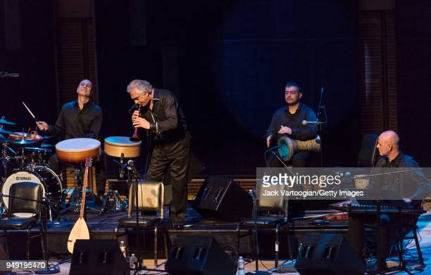Turkish musician and composer Omar Faruk Tekbilek performs on the Balkan and Central Asian wooden oboelike wind instrument known as the 'zurna' with...