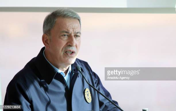"""Turkish National Defence Minister Hulusi Akar makes a speech following the """"Fire Free-2020"""" military drill of the Turkish Armed Forces, in Ankara,..."""