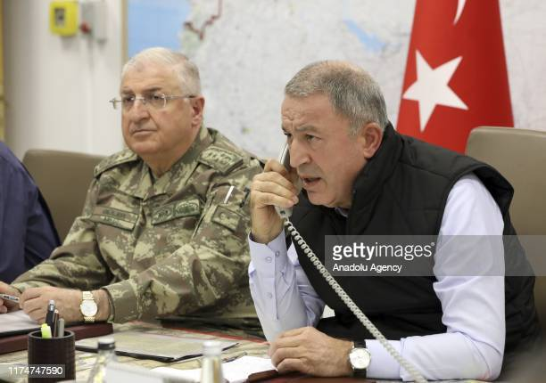 Turkish National Defense Minister Hulusi Akar along with Turkey's Chief of General Staff Gen. Yasar Guler and Turkish Land Forces Commander Umit...